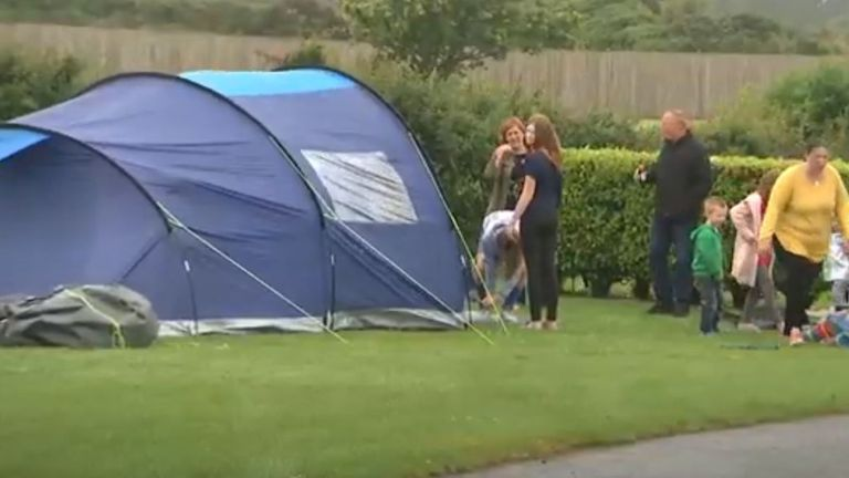 Families arrived for camping holidays