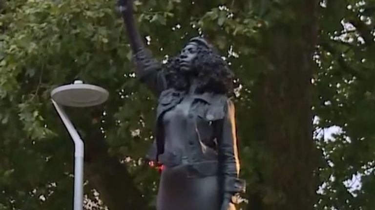 Statue of BLM protester Jen Reid is secretly placed on plinth where Edward Colston once stood