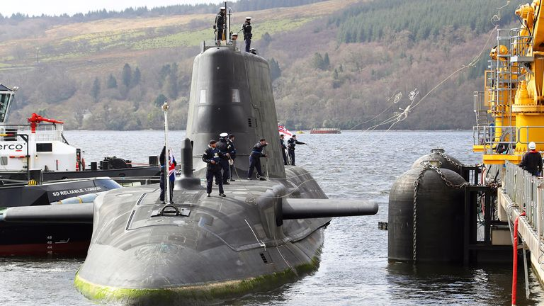 The submarine was one of the sister ships to the HMS Audacious which arrived at its new home in Clyde this April