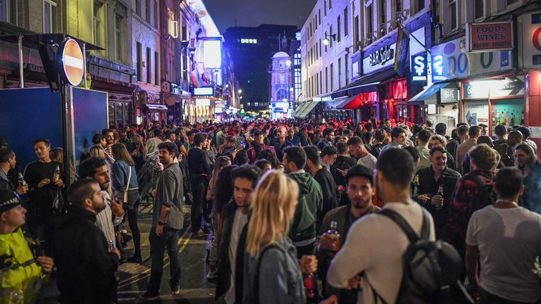 Crowds of people in Soho on so-called 'Super Saturday'
