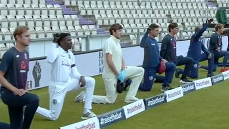 Players take the knee during England v West Indies first Test