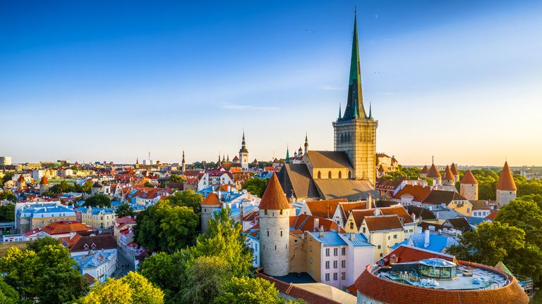 Tallinn Old Town aerial view from fat Margaret tower at sunset. Estonia stock photo Stock photo ID:1167517427 Upload date:August 16, 2019