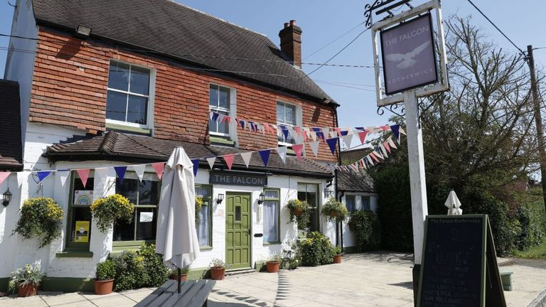 The Falcon pub in the village of Rotherwick