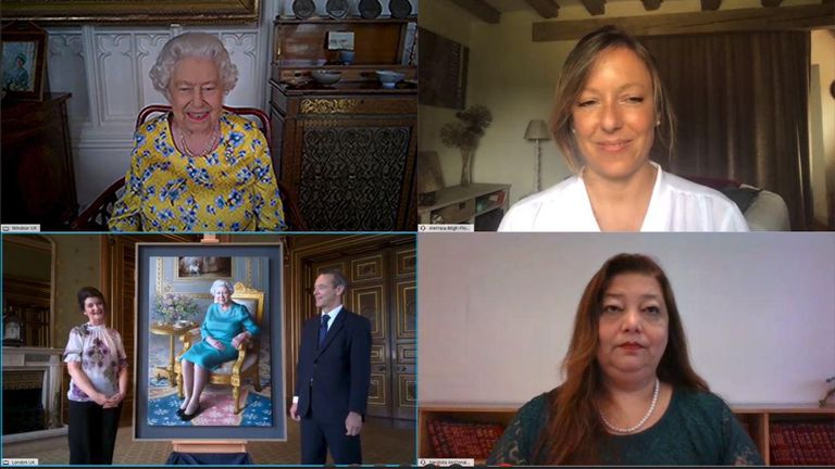 Her Majesty spoke to Sir Simon and Ms Escofet, Sanjibita McDonald Tariang and Aletheia Bligh Flower on the call. Pic: Buckingham Palace