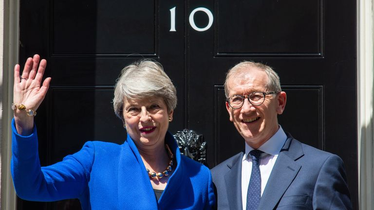 Theresa May and her husband Philip outside 10 Downing Street
