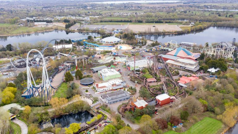 The theme park is pictured completely empty in April on the first day of the Easter holidays