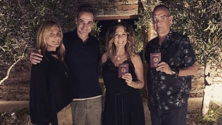 Tom Hanks and his wife Rita were given their Greek passports on Sunday