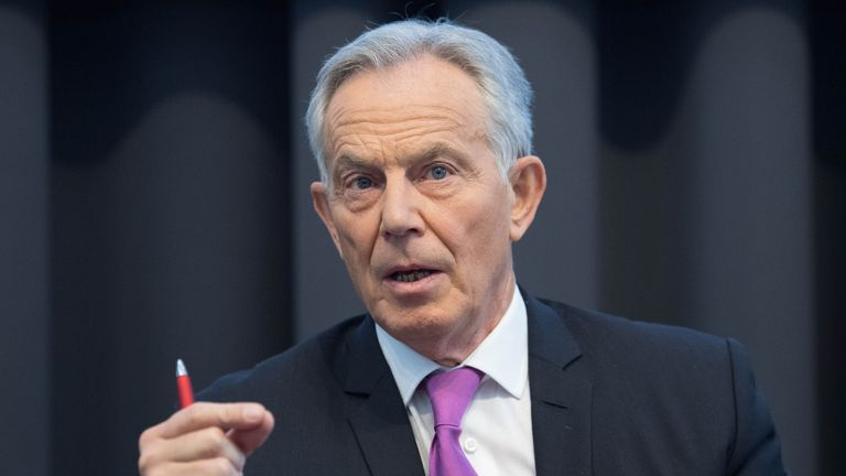 Former prime minister Tony Blair during a speech to mark the 120th anniversary of the founding of the Labour Party