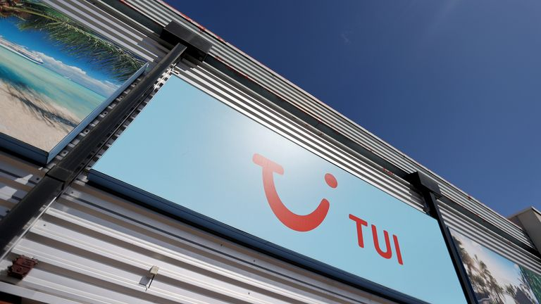 TUI logo is seen at the TUI travel center following the coronavirus disease (COVID-19) outbreak, in Hanley, Stoke-on-Trent, Britain, July 28, 2020. REUTERS/Carl Recine