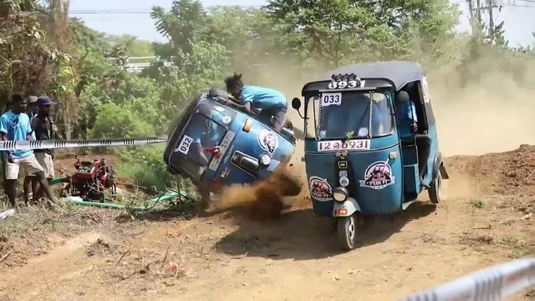 Blow outs, engine failures and countless tippings-over could not stop the tuk tuk crews as they ploughed through the course