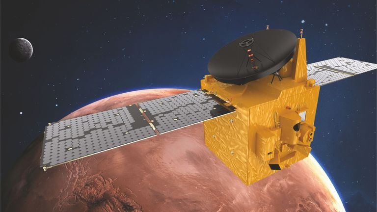 Render of the UAE satellite over Mars. Pic: Emirates Mission to Mars