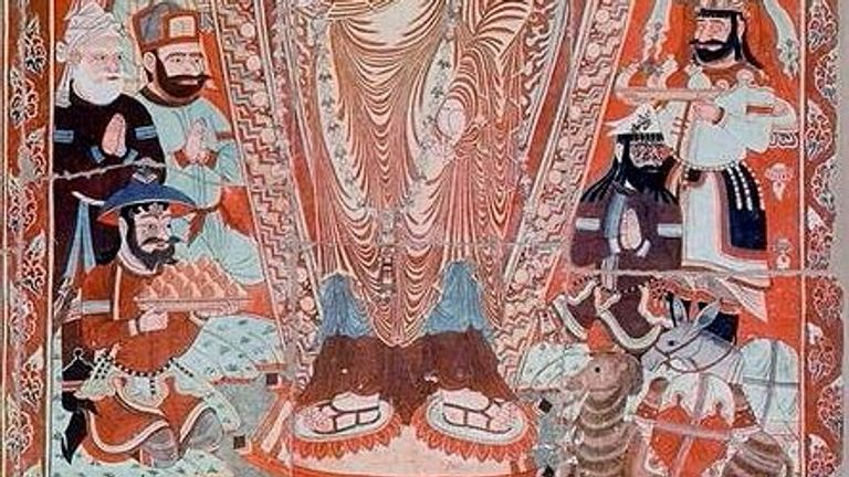 A scene in the Bezeklik caves in Xinjiang from the 9th century showing people from many origins