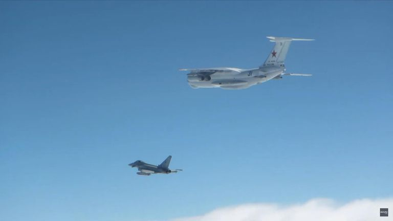 Typhoon jets took off from Siauliai airbase in Lithuania and intercepted a Russian IL-78 MIDAS air-refuelling aircraft.