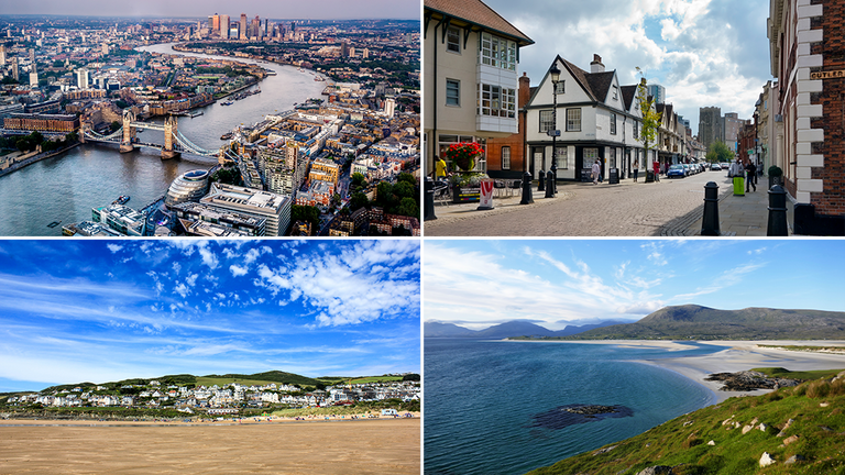 London, Ipswich, Devon and the Outer Hebrides feature among some of the world's top destinations