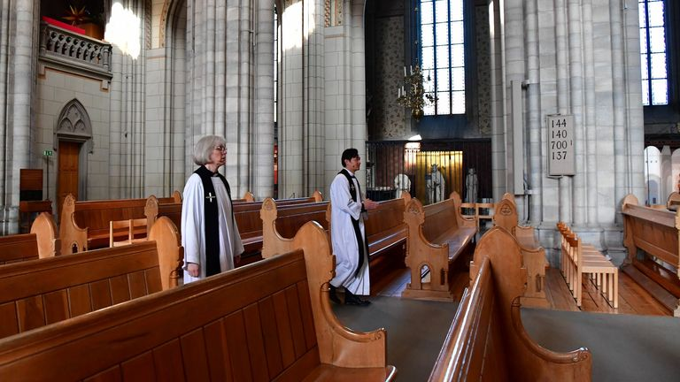 Priests in the Uppsala Cathedral in Sweden