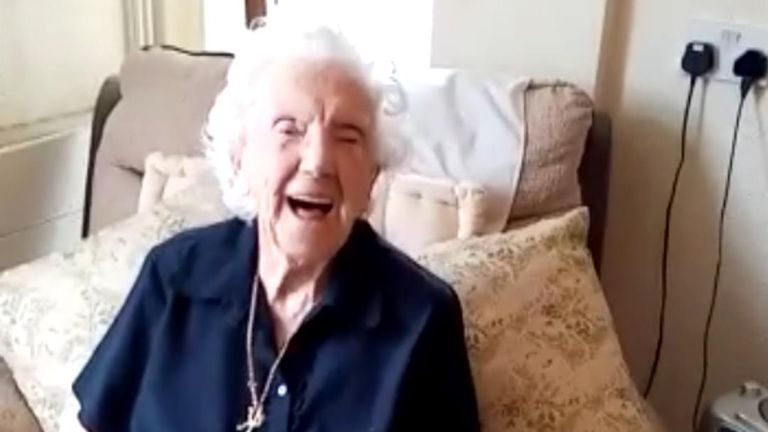 Kathleen Manley, 98, sent a message to her friends during lockdown, with a little help from her daughter.