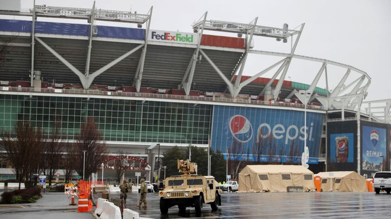 Sponsors FedEx and PepsiCo, seen on the side of the Redskins stadium which is being used for COVID-19 testing, called for a name change
