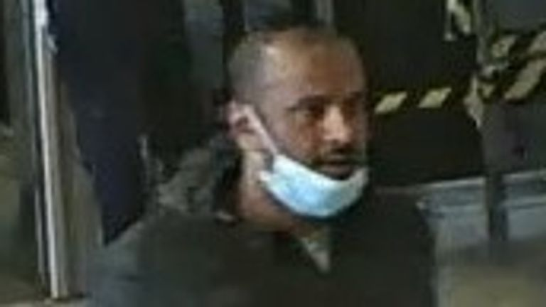 CCTV images of a man wanted following a robbery and kidnapping at Waterloo station on Wednesday 1 July