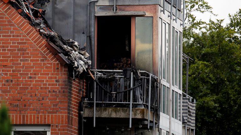 Debris is seen at the scene