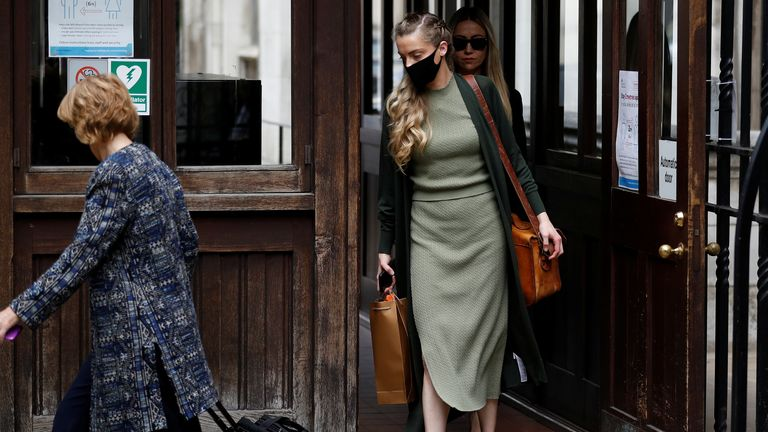 Whitney Heard, sister of actor Amber Heard, arrives at the High Court in London