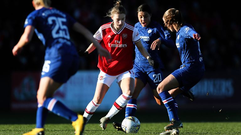 A Barclays FA Women's Super League match between Arsenal and Chelsea in January