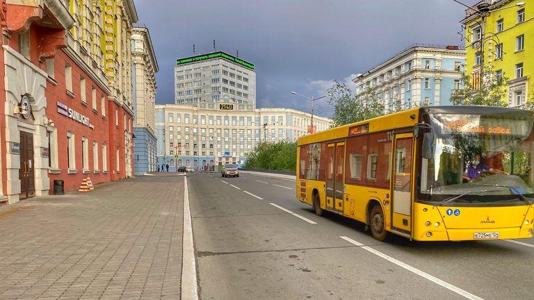 Nornickel headquarters in Norilsk. Building at the end. Pic: Anastasya Leonova