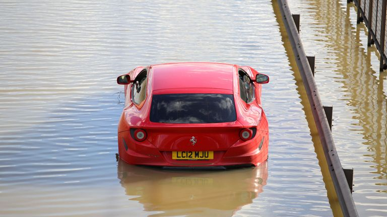 A Ferrari was one of the many vehicles that was submerged