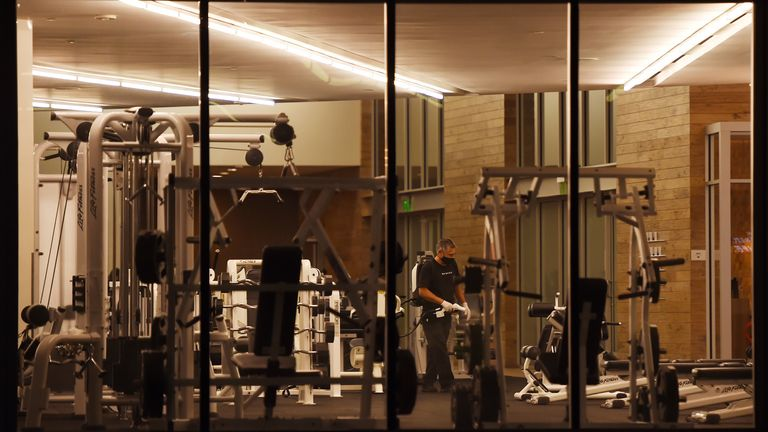 A gym in Marina del Rey, California, where all gyms are being closed after a rise in coronavirus cases