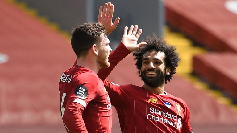 Andy Robertson celebrates scoring with Mohamed Salah against Burnley