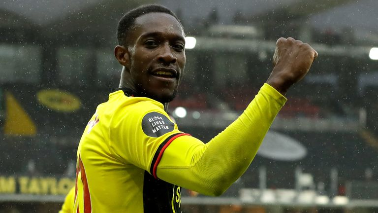 Danny Welbeck celebrates after putting Watford 2-1 up against Norwich