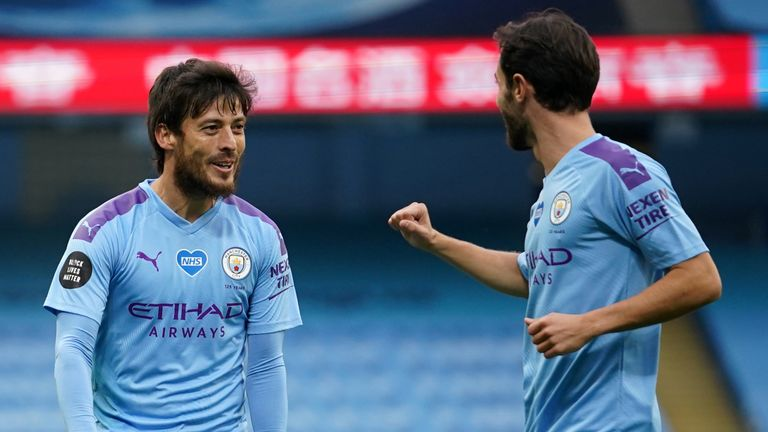 David Silva celebrates scoring for Manchester City against Bournemouth