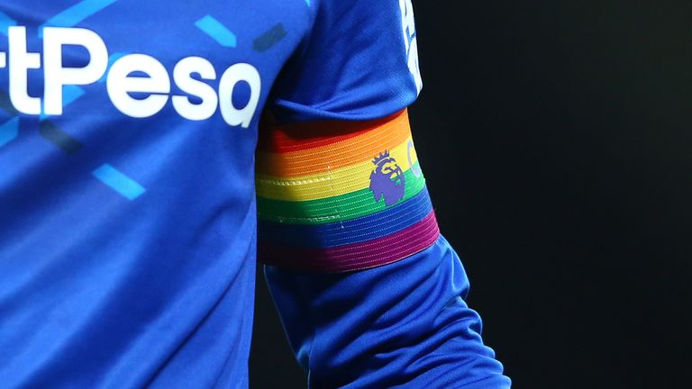 LIVERPOOL, ENGLAND - DECEMBER 04: A captains arm band in support of the Rainbow Laces campaign is seen during the Premier League match between Liverpool FC and Everton FC at Anfield on December 04, 2019 in Liverpool, United Kingdom. (Photo by Alex Livesey - Danehouse/Getty Images)