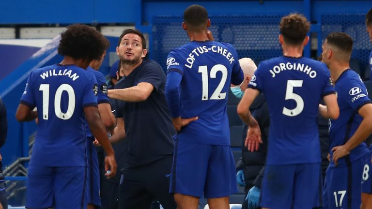 Frank Lampard gives instructions to his players during the 1-0 win over Norwich