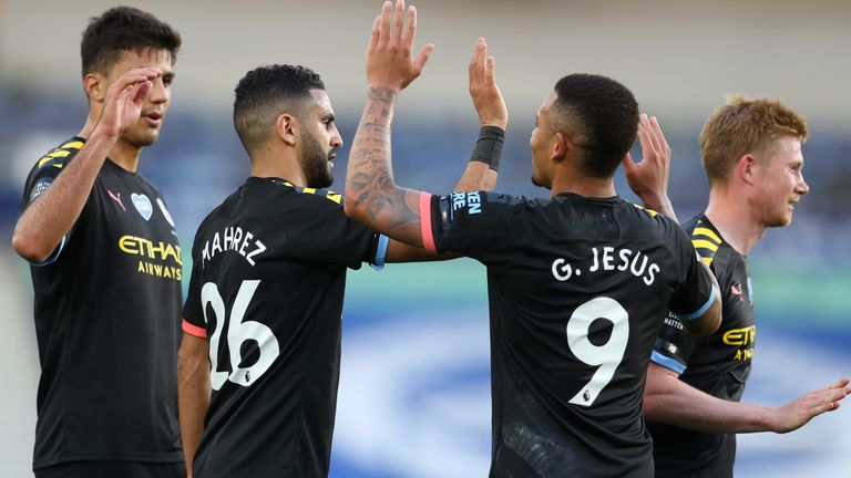 Manchester City's Gabriel Jesus celebrates scoring his side's second goal of the game during the Premier League match at the Amex Stadium, Brighton