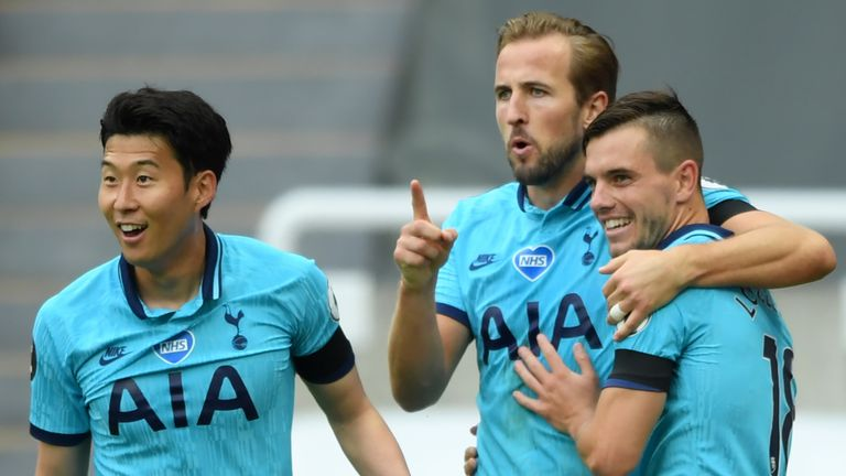 Harry Kane celebrates his goal with Tottenham team-mates Giovani Lo Celso and Heung-Min Son