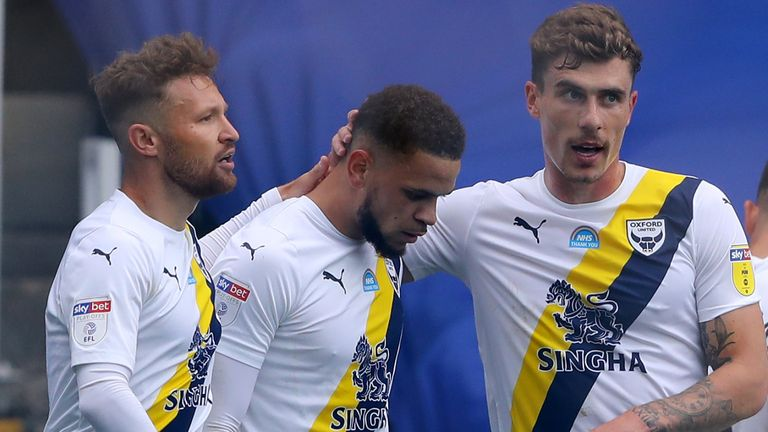 Marcus Browne celebrates his equaliser for Oxford United against Portsmouth