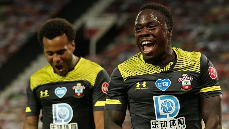 Michael Obafemi celebrates his late equaliser against Manchester United