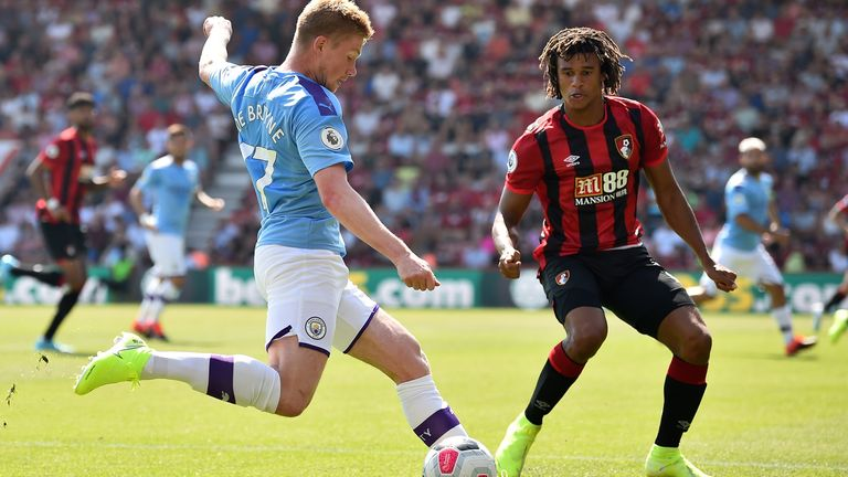 Nathan Ake defends against Kevin De Bruyne as Bournemouth take on Man City early in the season