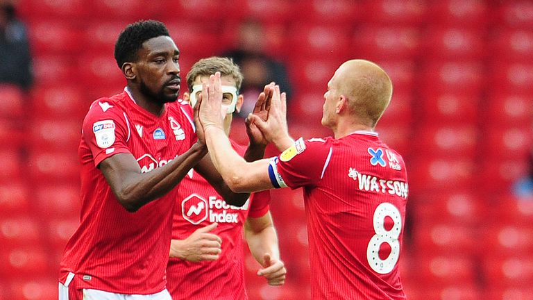 NOTTINGHAM, ENGLAND - JULY 15: Sammy Ameobi of Nottingham Forest celebrates scoring his side's equalising goal to make the score 1-1 during the Sky Bet Championship match between Nottingham Forest and Swansea City at the City Ground Stadium on July 15, 2020 in Nottingham, England. (Photo by Athena Pictures/Getty Images)