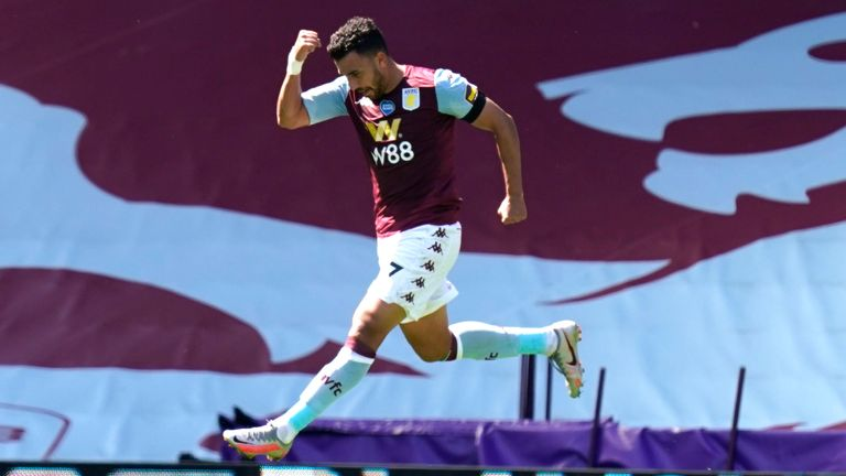 Trezeguet celebrates after scoring for Aston Villa against Crystal Palace