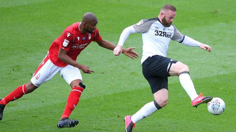 Wayne Rooney in action for Derby vs Nottingham Forest