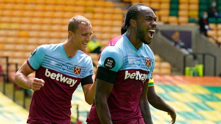 Michail Antonio celebrates scoring for West Ham against Norwich