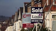 EMBARGOED TO 0001 WEDNESDAY MAY 27 File photo dated 23/01/15 of For Sale and Sold signs outside houses in north London. House-hunter demand jumped 88% across England as the market reopened earlier this month, according to Zoopla.
