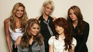 Girls Aloud members (clockwise from top L) Nadine Coyle, Sarah Harding, Kimberley Walsh, Nicola Roberts and Cheryl Tweedy pose for a portrait at BBC Television Centre on October 25, 2006 in London