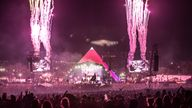 Fireworks mark the end of the Foo Fighters performance at the Glastonbury Festival site at Worthy Farm in Pilton on June 24, 2017