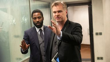 (L-R) John David Washington and director Christopher Nolan on the Tenet set. Pic: Melinda Sue Gordon
