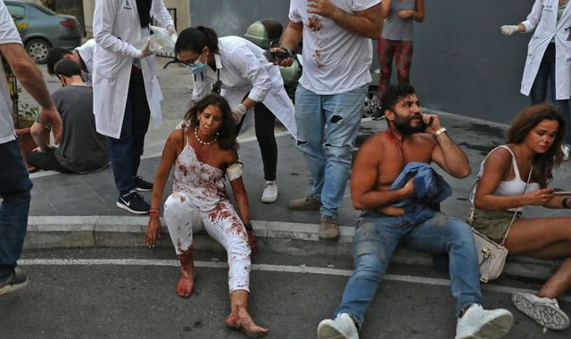 Beirut explosion: 'Casualties everywhere' - Hospitals struggle to cope as bloodied people walk streets
