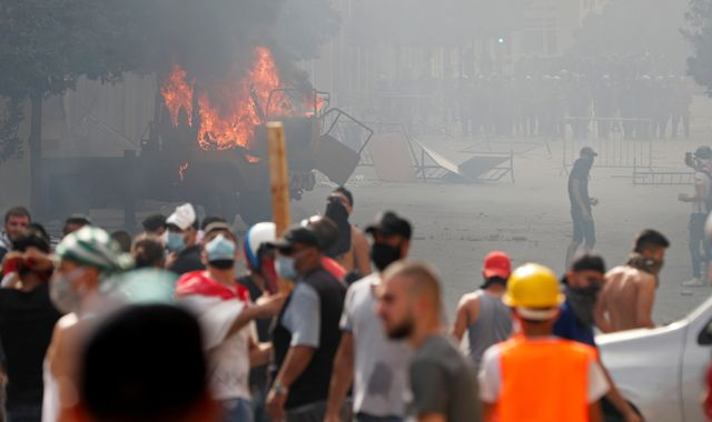 Beirut: Riot police fire tear gas at protesters as anger grows over port explosion