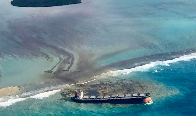 Mauritius declares environmental emergency after mass oil spill from grounded tanker