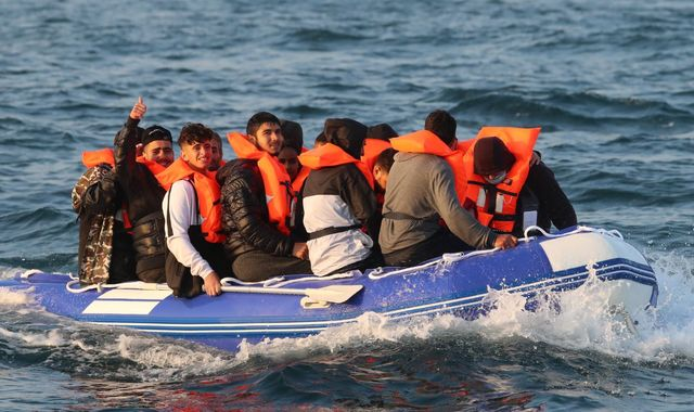 Border Force intercepts inflatable dinghy carrying 20 migrants off coast of Dover